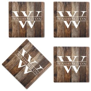 Wood Grain Custom Ceramic Coasters