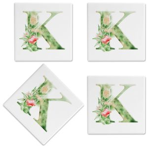 Watercolor Initial Customized Ceramic Coasters
