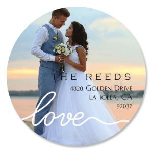 Love Round White Caption Custom Photo Address Labels