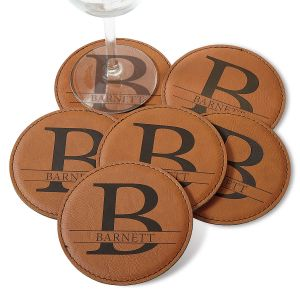 Personalized Initial and Family Name Coaster Set