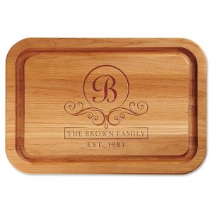 Flourish Scroll Engraved Alder Wood Cutting Board