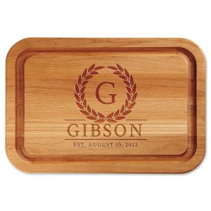Laurel Wreath Engraved Alder Wood Cutting Board