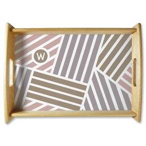 Personalized Initialed Stripe Natural Wood Serving Tray
