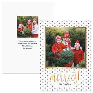 Black Snowflakes Personalized Photo Christmas Cards
