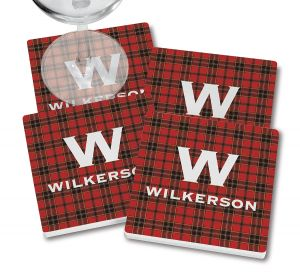 Red-Black Buffalo Plaid Coasters with wine glass