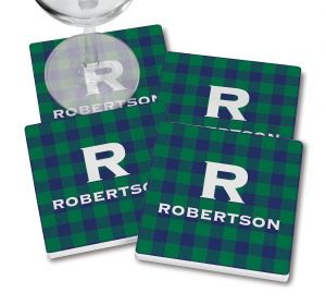 Blue-Green Buffalo Plaid Coasters
