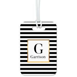 Custom Striped with Gold Luggage Tag