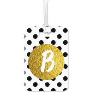 Custom Polka Gold Luggage Tag