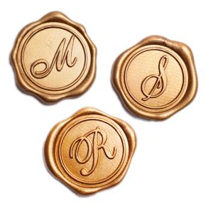Gold Initial Adhesive Wax Seals