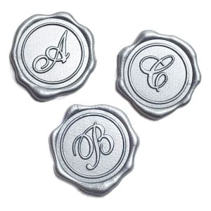 Metallic Silver Initial Wax Seals
