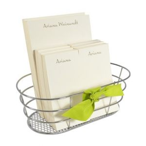 Ecru Note Pads & Basket