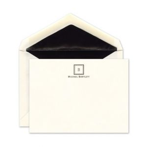 Monogram Ecru Flat Card