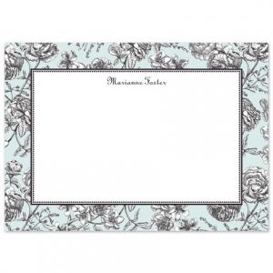 Blue Toile Flat Card