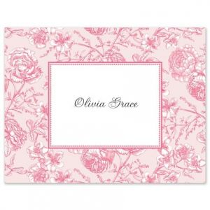 Pink Toile Note Card