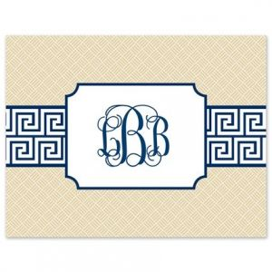 Greek Key Navy Note Card