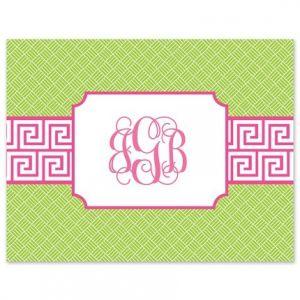 Greek Key Pink Note Card