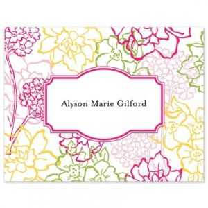 Pink Floral Note Card