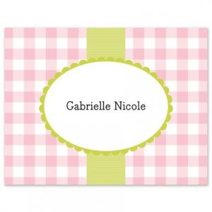 Pink Check Note Card