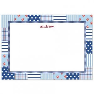 Blue Patchwork Flat Card