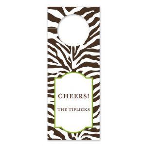 Zebra Brown Wine Tag
