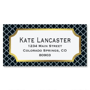 Diagonal Pattern Foil Border Address Labels