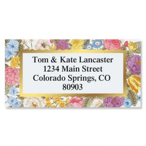 Floral Gold Foil Border Custom Address Labels