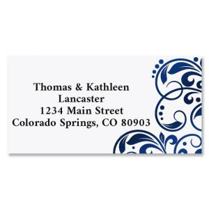 Imperial Blue Foil Border Custom Address Labels