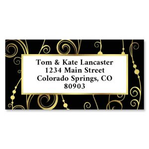 Fantastic Swirl Foil Border Custom Address Labels