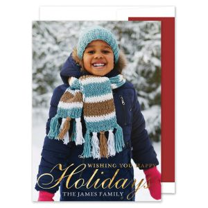 Traditional Holiday Foil Photo Card