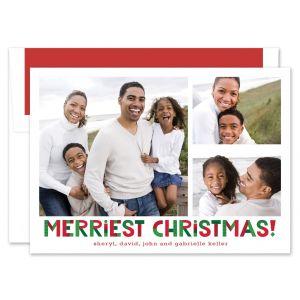 Upbeat Merriest Christmas Photo Card