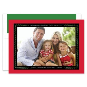 Vine Ribbon Red & Black Photo Card