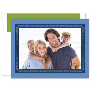 Vine Ribbon Blue Photo Card