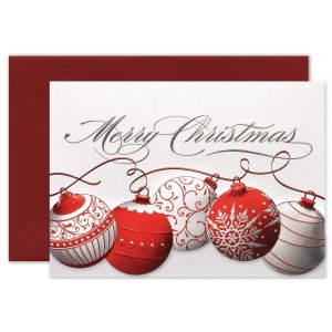 Red and Silver Ornaments Greeting Card