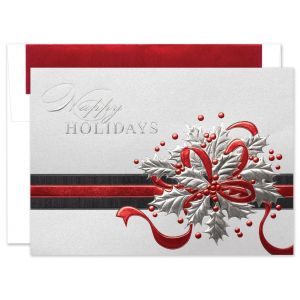 Shimmering Holly Greeting Card