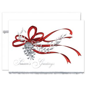 Pinecone in Red Greeting Card