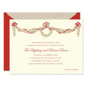 Golden Holly Bough Invitation