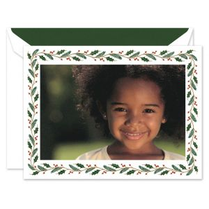 Pine and Holly Mounted Photo Card