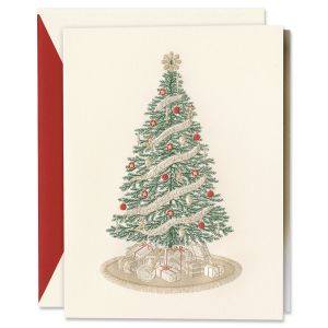 Engraved Classic Christmas Tree Holiday Greeting Cards Boxed Set