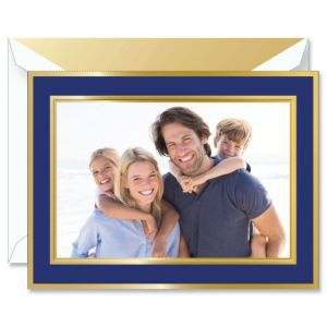 Navy and Gold Frame Photo Mount Holiday Greeting Cards Boxed Set
