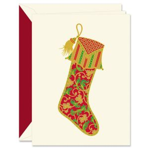 Foil Paisley Stocking Holiday Greeting Cards Boxed Set