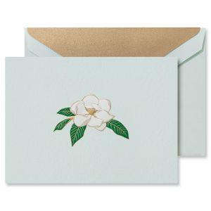 Engraved Magnolia Blossom Correspondence Cards Boxed Set