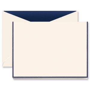 Navy Bordered Ecru Correspondence Cards Boxed Set