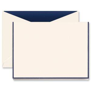 Navy Bordered Ecru Correspondence Cards Boxed Set