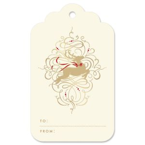 Leaping Reindeer Gift Tag