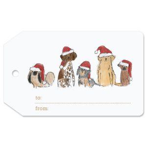 Santa Dogs Gift Tag