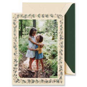 Small Pine Greenery Mounted Photo Card