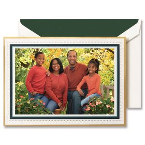 Green Beaded Border Mounted Photo Card