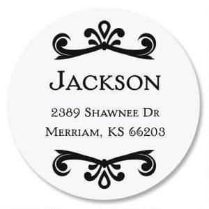 Scroll Name Round Custom Address Labels