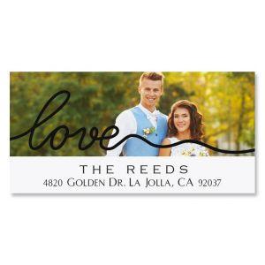 Love Black Caption Deluxe Photo Custom Address Labels