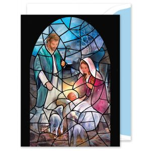 Stained Glass Manger Greeting Card